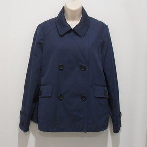 Lands End Jacket Navy Pea Coat Double Breasted2013
